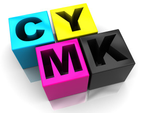 3d illustration of cmyk colors cubes over white background